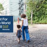 children walking together down a cobblestone road